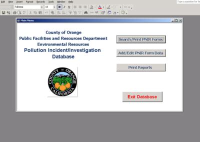 Database Upgrade Pollution Incident/Investigation Database